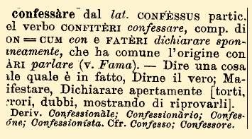 Etimologia di confessione